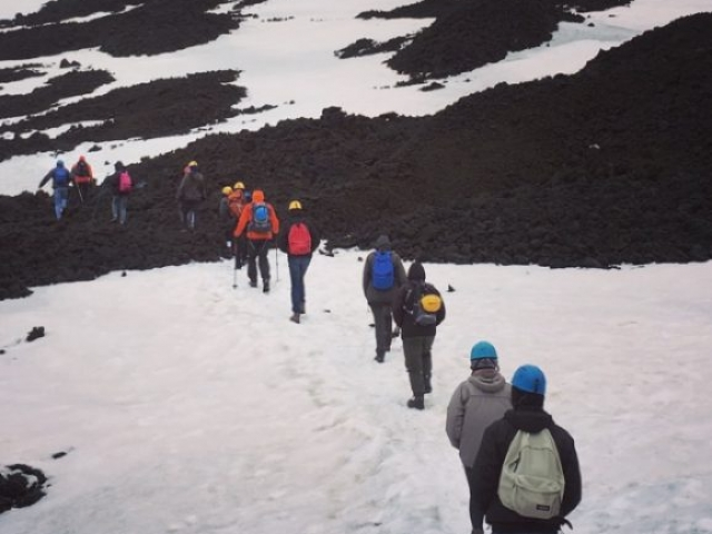 snow etna live volcano nature sport lava active fun hiking trekking walking excursionist Sicily mountains forest